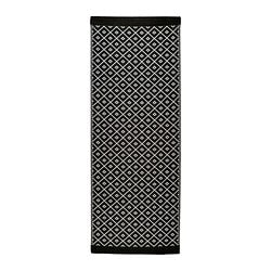 "SOLRÖD rug, flatwoven, white, black Length: 6 ' 7 "" Width: 2 ' 6 "" Surface density: 1 oz/sq ft Length: 200 cm Width: 75 cm Surface density: 440 g/m²"