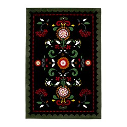 "ÅKERKULLA rug, low pile, multicolor, black Length: 6 ' 5 "" Width: 4 ' 4 "" Surface density: 8 oz/sq ft Length: 195 cm Width: 133 cm Surface density: 2400 g/m²"