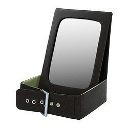 BETRAKTA table mirror with storage, green, black Width: 21 cm Depth: 21 cm Height: 28 cm