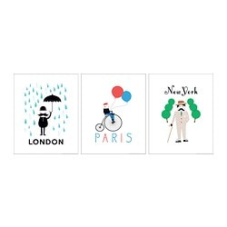 TRILLING poster, set of 3, cities Width: 40 cm Height: 50 cm