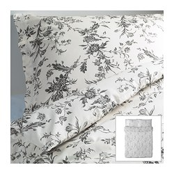 "ALVINE KVIST duvet cover and pillowcase(s), gray, white Duvet cover length: 86 "" Duvet cover width: 86 "" Pillowcase length: 20 "" Duvet cover length: 218 cm Duvet cover width: 218 cm Pillowcase length: 51 cm"