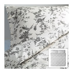 "ALVINE KVIST duvet cover and pillowcase(s), gray, white Duvet cover length: 86 "" Duvet cover width: 102 "" Pillowcase length: 20 "" Duvet cover length: 218 cm Duvet cover width: 259 cm Pillowcase length: 51 cm"