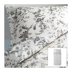 "ALVINE KVIST duvet cover and pillowcase(s), gray, white Duvet cover length: 86 "" Duvet cover width: 64 "" Pillowcase length: 20 "" Duvet cover length: 218 cm Duvet cover width: 162 cm Pillowcase length: 51 cm"