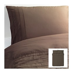 "ALVINE STRÅ duvet cover and pillowcase(s), brown Duvet cover length: 86 "" Duvet cover width: 86 "" Pillowcase length: 20 "" Duvet cover length: 218 cm Duvet cover width: 218 cm Pillowcase length: 51 cm"