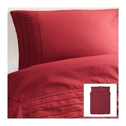 "ALVINE STRÅ duvet cover and pillowcase(s), dark red Duvet cover length: 86 "" Duvet cover width: 86 "" Pillowcase length: 20 "" Duvet cover length: 218 cm Duvet cover width: 218 cm Pillowcase length: 51 cm"