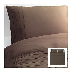 "ALVINE STRÅ duvet cover and pillowcase(s), brown Duvet cover length: 86 "" Duvet cover width: 102 "" Pillowcase length: 20 "" Duvet cover length: 218 cm Duvet cover width: 259 cm Pillowcase length: 51 cm"