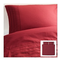 "ALVINE STRÅ duvet cover and pillowcase(s), dark red Duvet cover length: 86 "" Duvet cover width: 102 "" Pillowcase length: 20 "" Duvet cover length: 218 cm Duvet cover width: 259 cm Pillowcase length: 51 cm"