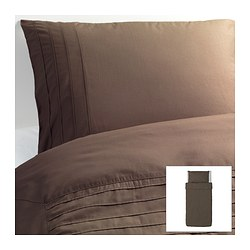 "ALVINE STRÅ duvet cover and pillowcase(s), brown Duvet cover length: 86 "" Duvet cover width: 64 "" Pillowcase length: 20 "" Duvet cover length: 218 cm Duvet cover width: 162 cm Pillowcase length: 51 cm"