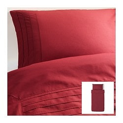 "ALVINE STRÅ duvet cover and pillowcase(s), dark red Duvet cover length: 86 "" Duvet cover width: 64 "" Pillowcase length: 20 "" Duvet cover length: 218 cm Duvet cover width: 162 cm Pillowcase length: 51 cm"