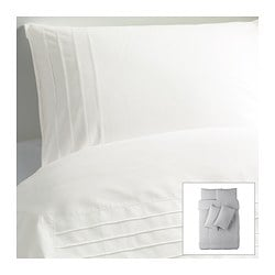 ALVINE STRÅ quilt cover and 4 pillowcases, white Quilt cover length: 200 cm Quilt cover width: 200 cm Pillowcase length: 50 cm