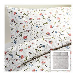"ALVINE ÖRTER duvet cover and pillowcase(s), multicolor Duvet cover length: 86 "" Duvet cover width: 102 "" Pillowcase length: 20 "" Duvet cover length: 218 cm Duvet cover width: 259 cm Pillowcase length: 51 cm"