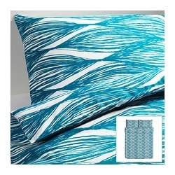 "MALIN BLAD duvet cover and pillowcase(s), turquoise Duvet cover length: 86 "" Duvet cover width: 86 "" Pillowcase length: 20 "" Duvet cover length: 218 cm Duvet cover width: 218 cm Pillowcase length: 51 cm"
