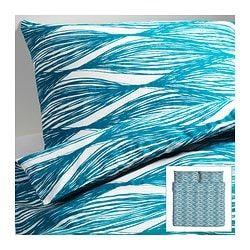 "MALIN BLAD duvet cover and pillowcase(s), turquoise Duvet cover length: 86 "" Duvet cover width: 102 "" Pillowcase length: 20 "" Duvet cover length: 218 cm Duvet cover width: 259 cm Pillowcase length: 51 cm"