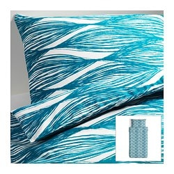 "MALIN BLAD duvet cover and pillowcase(s), turquoise Duvet cover length: 86 "" Duvet cover width: 64 "" Pillowcase length: 20 "" Duvet cover length: 218 cm Duvet cover width: 162 cm Pillowcase length: 51 cm"