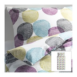 "MALIN RUND duvet cover and pillowcase(s), multicolor Duvet cover length: 86 "" Duvet cover width: 64 "" Pillowcase length: 20 "" Duvet cover length: 218 cm Duvet cover width: 162 cm Pillowcase length: 51 cm"