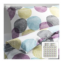 MALIN RUND quilt cover and 2 pillowcases, multicolour Quilt cover length: 220 cm Quilt cover width: 240 cm Pillowcase length: 50 cm