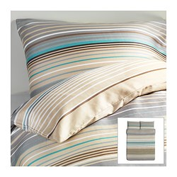"PALMLILJA duvet cover and pillowcase(s), beige Duvet cover length: 86 "" Duvet cover width: 86 "" Pillowcase length: 20 "" Duvet cover length: 218 cm Duvet cover width: 218 cm Pillowcase length: 51 cm"