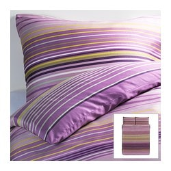 "PALMLILJA duvet cover and pillowcase(s), lilac Duvet cover length: 86 "" Duvet cover width: 86 "" Pillowcase length: 20 "" Duvet cover length: 218 cm Duvet cover width: 218 cm Pillowcase length: 51 cm"