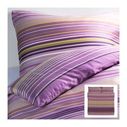 "PALMLILJA duvet cover and pillowcase(s), lilac Duvet cover length: 86 "" Duvet cover width: 102 "" Pillowcase length: 20 "" Duvet cover length: 218 cm Duvet cover width: 259 cm Pillowcase length: 51 cm"