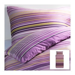 "PALMLILJA duvet cover and pillowcase(s), lilac Duvet cover length: 86 "" Duvet cover width: 64 "" Pillowcase length: 20 "" Duvet cover length: 218 cm Duvet cover width: 162 cm Pillowcase length: 51 cm"