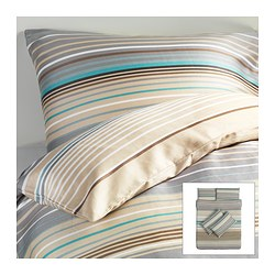 PALMLILJA quilt cover and 4 pillowcases, beige Quilt cover length: 200 cm Quilt cover width: 200 cm Pillowcase length: 50 cm