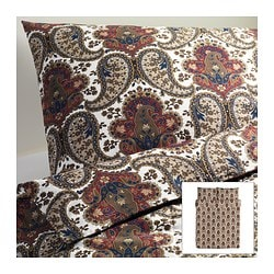 "BACKSÖTA duvet cover and pillowcase(s), brown Duvet cover length: 86 "" Duvet cover width: 86 "" Pillowcase length: 20 "" Duvet cover length: 218 cm Duvet cover width: 218 cm Pillowcase length: 51 cm"