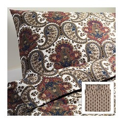 "BACKSÖTA duvet cover and pillowcase(s), brown Duvet cover length: 86 "" Duvet cover width: 102 "" Pillowcase length: 20 "" Duvet cover length: 218 cm Duvet cover width: 259 cm Pillowcase length: 51 cm"