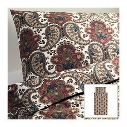"BACKSÖTA duvet cover and pillowcase(s), brown Duvet cover length: 86 "" Duvet cover width: 64 "" Pillowcase length: 20 "" Duvet cover length: 218 cm Duvet cover width: 162 cm Pillowcase length: 51 cm"