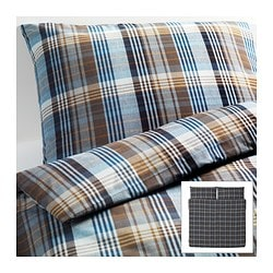 "BENZY duvet cover and pillowcase(s), blue, checkered Duvet cover length: 86 "" Duvet cover width: 102 "" Pillowcase length: 20 "" Duvet cover length: 218 cm Duvet cover width: 259 cm Pillowcase length: 51 cm"