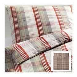 "BENZY duvet cover and pillowcase(s), red, checkered Duvet cover length: 86 "" Duvet cover width: 102 "" Pillowcase length: 20 "" Duvet cover length: 218 cm Duvet cover width: 259 cm Pillowcase length: 51 cm"