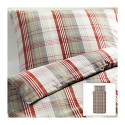 "BENZY duvet cover and pillowcase(s), red, checkered Duvet cover length: 86 "" Duvet cover width: 64 "" Pillowcase length: 20 "" Duvet cover length: 218 cm Duvet cover width: 162 cm Pillowcase length: 51 cm"
