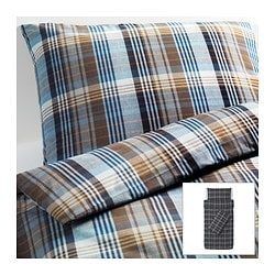 BENZY quilt cover and 2 pillowcases, blue, chequered Quilt cover length: 200 cm Quilt cover width: 150 cm Pillowcase length: 50 cm