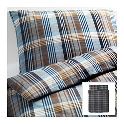 BENZY quilt cover and 2 pillowcases, blue, chequered Quilt cover length: 230 cm Quilt cover width: 200 cm Pillowcase length: 50 cm
