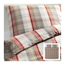 BENZY quilt cover and 2 pillowcases, red, chequered Quilt cover length: 220 cm Quilt cover width: 240 cm Pillowcase length: 50 cm
