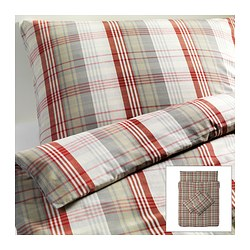 BENZY quilt cover and 4 pillowcases, red, chequered Quilt cover length: 200 cm Quilt cover width: 200 cm Pillowcase length: 50 cm
