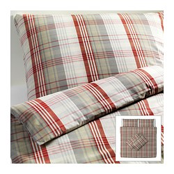 BENZY quilt cover and 4 pillowcases, red, chequered Quilt cover length: 220 cm Quilt cover width: 240 cm Pillowcase length: 50 cm