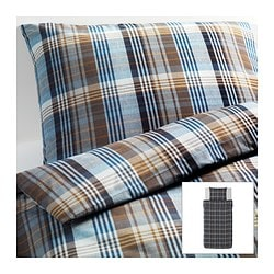 BENZY quilt cover and pillowcase, blue, chequered Quilt cover length: 200 cm Quilt cover width: 150 cm Pillowcase length: 50 cm
