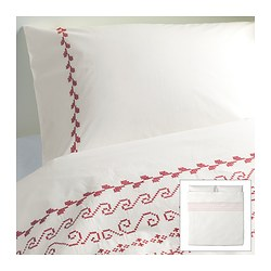 "BIRGIT duvet cover and pillowcase(s), white/red Duvet cover length: 86 "" Duvet cover width: 102 "" Pillowcase length: 20 "" Duvet cover length: 218 cm Duvet cover width: 259 cm Pillowcase length: 51 cm"