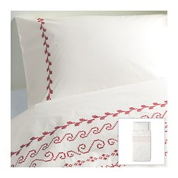 "BIRGIT duvet cover and pillowcase(s), white/red Duvet cover length: 86 "" Duvet cover width: 64 "" Pillowcase length: 20 "" Duvet cover length: 218 cm Duvet cover width: 162 cm Pillowcase length: 51 cm"