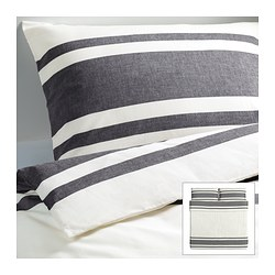 "BJÖRNLOKA duvet cover and pillowcase(s), black Duvet cover length: 86 "" Duvet cover width: 102 "" Pillowcase length: 20 "" Duvet cover length: 218 cm Duvet cover width: 259 cm Pillowcase length: 51 cm"