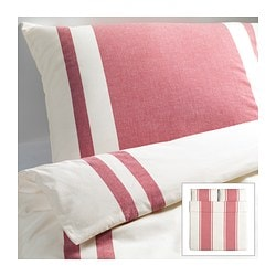 "BJÖRNLOKA duvet cover and pillowcase(s), red Duvet cover length: 86 "" Duvet cover width: 102 "" Pillowcase length: 20 "" Duvet cover length: 218 cm Duvet cover width: 259 cm Pillowcase length: 51 cm"