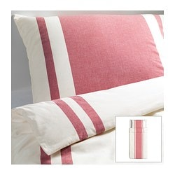 "BJÖRNLOKA duvet cover and pillowcase(s), red Duvet cover length: 86 "" Duvet cover width: 64 "" Pillowcase length: 20 "" Duvet cover length: 218 cm Duvet cover width: 162 cm Pillowcase length: 51 cm"