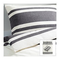 BJÖRNLOKA quilt cover and 4 pillowcases, black Quilt cover length: 200 cm Quilt cover width: 200 cm Pillowcase length: 50 cm
