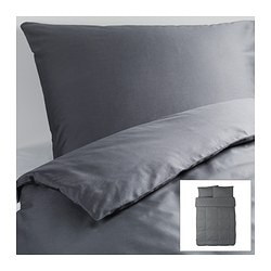 "GÄSPA duvet cover and pillowcase(s), dark gray Duvet cover length: 86 "" Duvet cover width: 86 "" Pillowcase length: 20 "" Duvet cover length: 218 cm Duvet cover width: 218 cm Pillowcase length: 51 cm"