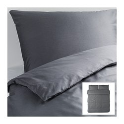"GÄSPA duvet cover and pillowcase(s), dark gray Duvet cover length: 86 "" Duvet cover width: 102 "" Pillowcase length: 20 "" Duvet cover length: 218 cm Duvet cover width: 259 cm Pillowcase length: 51 cm"