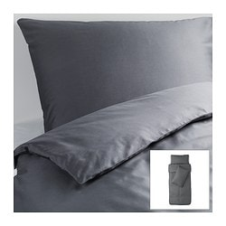 GÄSPA quilt cover and 2 pillowcases, dark grey Quilt cover length: 200 cm Quilt cover width: 150 cm Pillowcase length: 50 cm