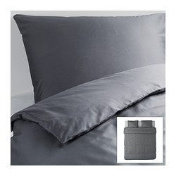 GÄSPA quilt cover and 2 pillowcases, dark grey Quilt cover length: 220 cm Quilt cover width: 240 cm Pillowcase length: 50 cm