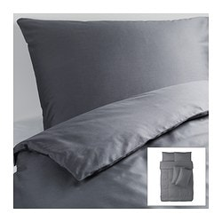 GÄSPA quilt cover and 4 pillowcases, dark grey Quilt cover length: 200 cm Quilt cover width: 200 cm Pillowcase length: 50 cm