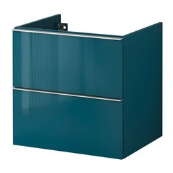 GODMORGON wash-stand with 2 drawers, high-gloss turquoise Width: 60 cm Depth: 47 cm Height: 58 cm