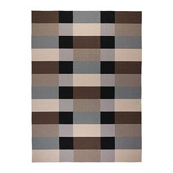 STOCKHOLM, Rug, flatwoven, handmade checkered, checkered brown brown